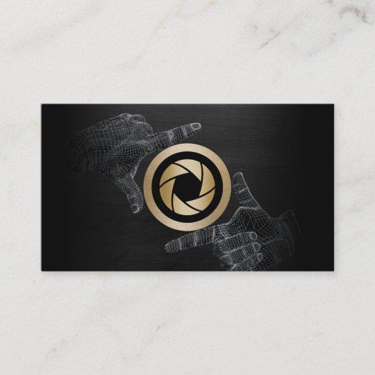 Photographer gold shutter logo elegant dark wood business card photographer gold shutter logo elegant dark wood business card reheart Image collections