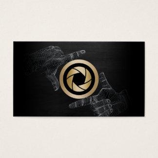 Photographer Gold Shutter Logo Elegant Dark Wood Business Card