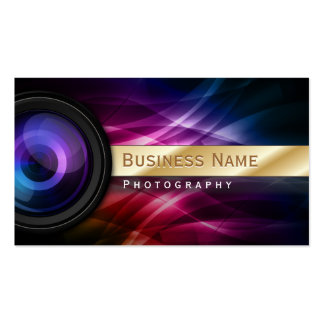Photographer Gold Striped Aurora Modern Double-Sided Standard Business Cards (Pack Of 100)