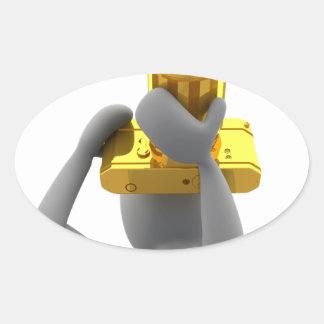 photographer golden camera oval sticker