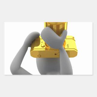 photographer golden camera rectangular sticker