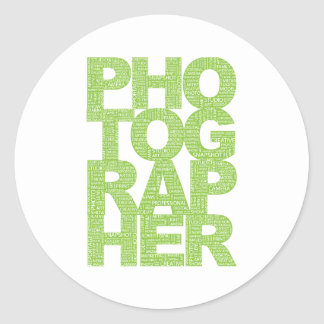 Photographer - Green Text Classic Round Sticker