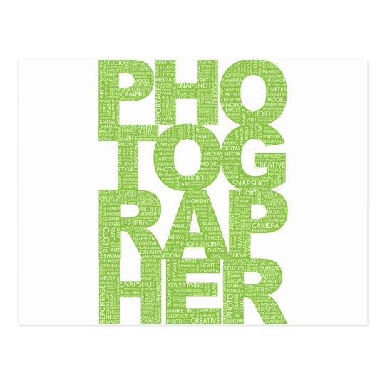 Photographer - Green Text Postcard