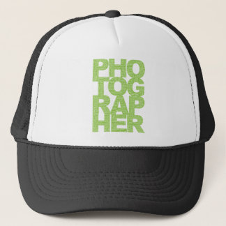 Photographer - Green Text Trucker Hat