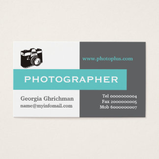 Photographer grey, white, blue eye-catching business card