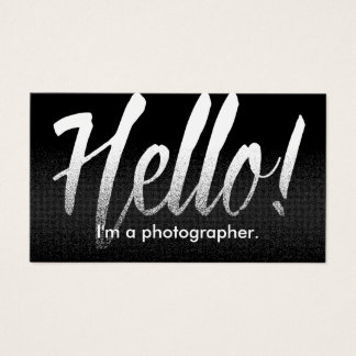Photographer Hello Modern Black & White Business Card