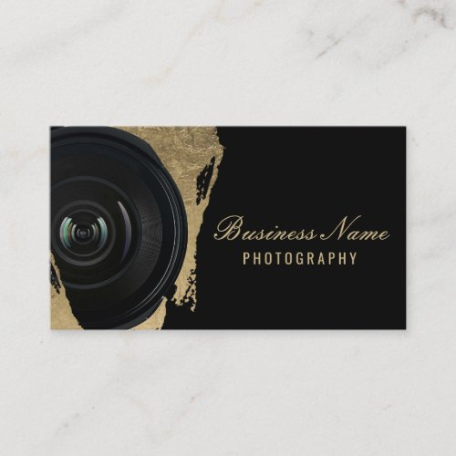 Photographer Modern Black  Gold Photography Business Card