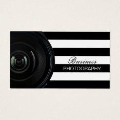 Photographer Modern Black & White Stripes Business Card at Zazzle