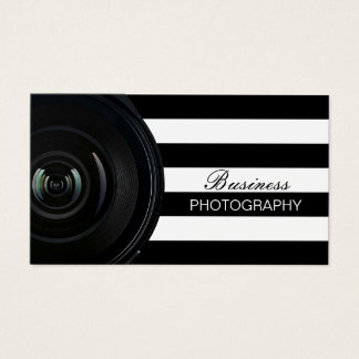 Photographer Modern Black & White Stripes Business Card