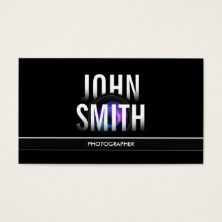Photographer Modern Bold Text & Camera Lens Business Card