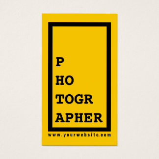 Photographer Modern Yellow Bold Border Business Card