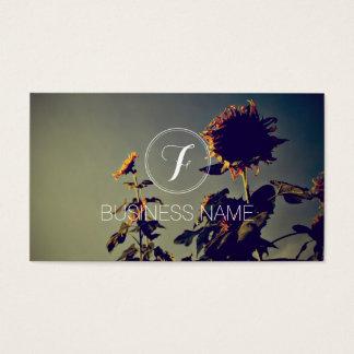 Photographer Monogram Elegant Sunflower Business Card