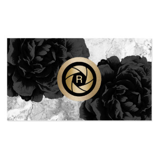 Photographer Monogram Gold Shutter Black Floral Business Card
