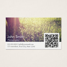 Photographer Nature Photography Qr Code Business Card at Zazzle