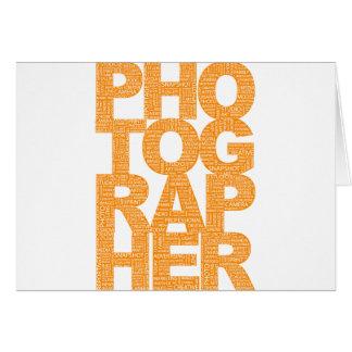 Photographer - Orange Text Greeting Cards
