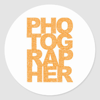 Photographer - Orange Text Classic Round Sticker