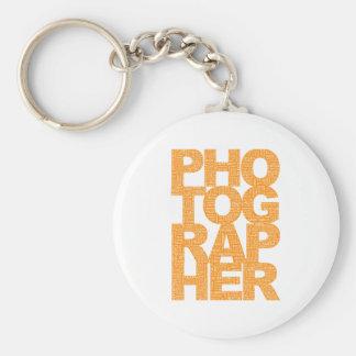 Photographer - Orange Text Keychain