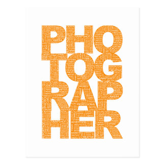 Photographer - Orange Text Postcard