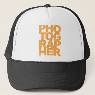 Photographer - Orange Text Trucker Hat
