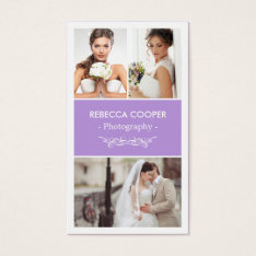 Photographer Photo Showcase - Chic Lavender Purple Business Card at Zazzle