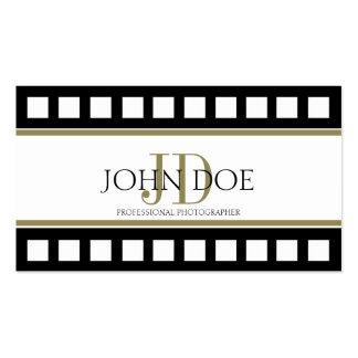 Photographer Photography Black Film Gold Monogram Business Card
