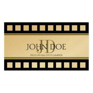 Photographer Photography Black Gold Film Monogram Business Card