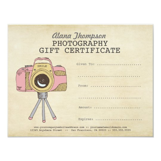 Photographer photography gift certificate template zazzle photographer photography gift certificate template yadclub Gallery