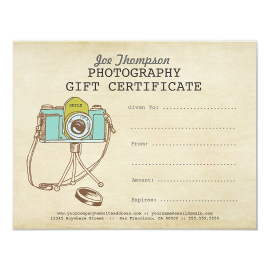 Photographer Photography Gift Certificate Template | Zazzle.com