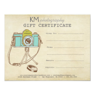 Photographer Photography Gift Certificate Template Personalized Invitations