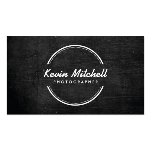 Photographer, Photography Logo on Black Wood Business Card
