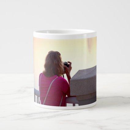 photographer pink shirt female back jumbo mugs