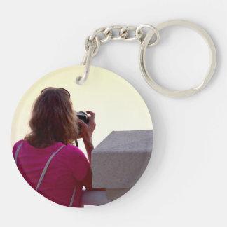 photographer pink shirt female back keychains