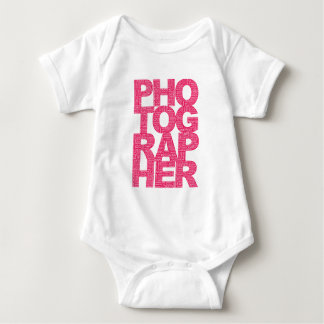 Photographer - Pink Text Baby Bodysuit