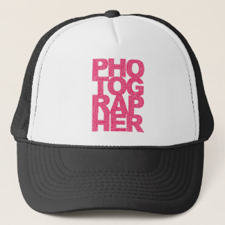 Photographer - Pink Text Trucker Hat
