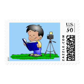 Photographer Postage Stamps, Boy with Camera, Book