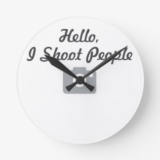 Photographer promotion-  hello, I shoot people Round Wall Clocks