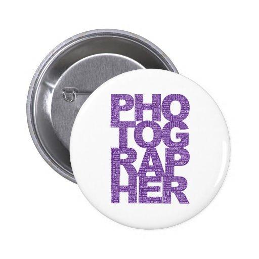 Photographer - Purple Text 2 Inch Round Button