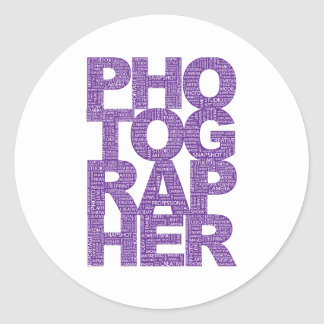 Photographer - Purple Text Classic Round Sticker