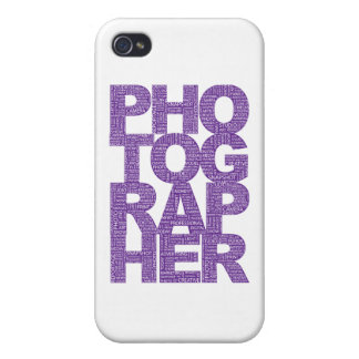 Photographer - Purple Text Covers For iPhone 4