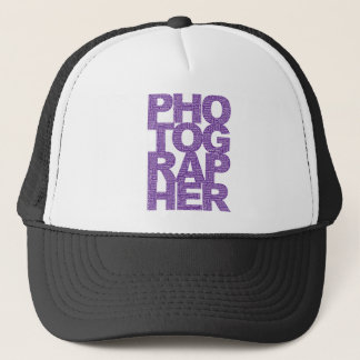 Photographer - Purple Text Trucker Hat