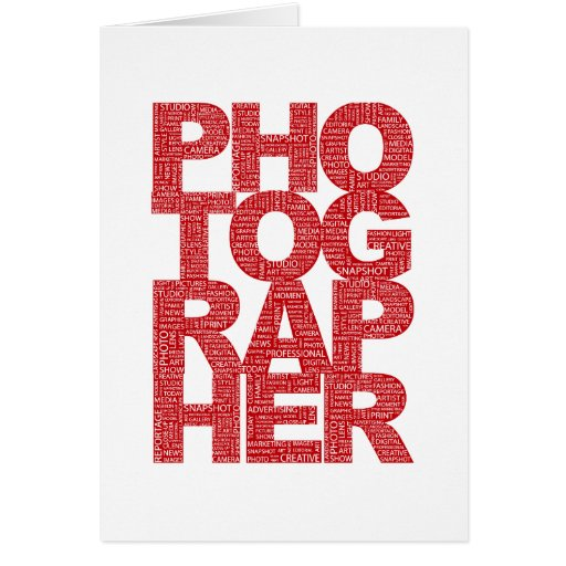 Photographer - Red Text Cards
