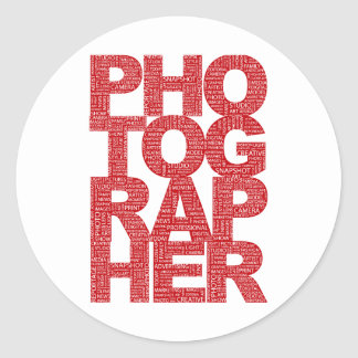 Photographer - Red Text Classic Round Sticker