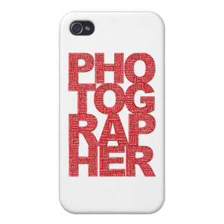 Photographer - Red Text iPhone 4 Covers