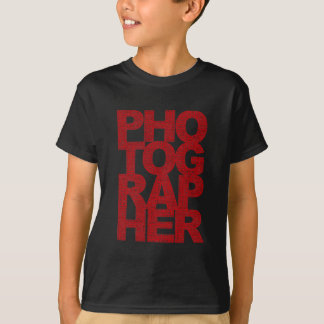 Photographer - Red Text T-Shirt