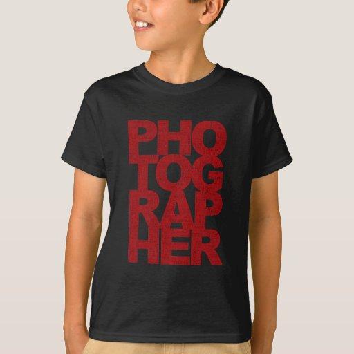Photographer - Red Text T-Shirt