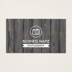 Photographer Rustic Wood Background Photography Business Card at Zazzle