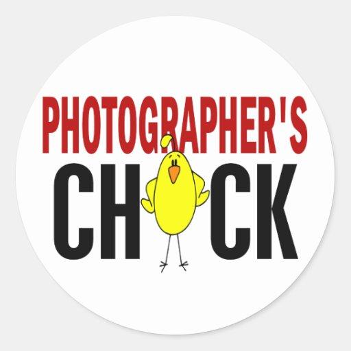 PHOTOGRAPHER'S CHICK ROUND STICKERS
