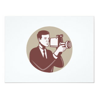 Photographer Shooting Video Camera Retro Personalized Announcements