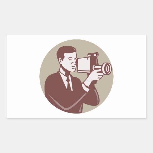 Photographer Shooting Video Camera Retro Sticker