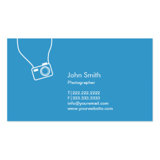 Photographer Simple Camera Blue Photography Business Card